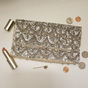 La Regale vintage silver sequined/beaded clutch